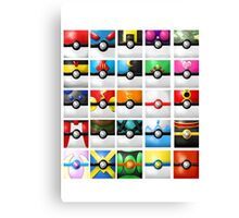 Pokeball collection Canvas Print