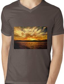 Gold Sky Flames Sunset. Photo Art, Prints, Gifts, and Apparel. Mens V-Neck T-Shirt