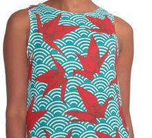 Red Origami Birds Contrast Tank