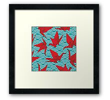 Red Origami Birds Framed Print