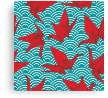 Red Origami Birds Canvas Print