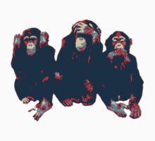 3 wise monkeys hope art Kids Tee