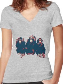 3 wise monkeys hope art Women's Fitted V-Neck T-Shirt
