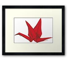 Red Origami Bird Framed Print