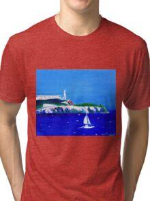 Yacht scene in San Francisco Bay with Alcatraz Tri-blend T-Shirt