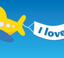 Yellow airplane. Vector airplane Sticker