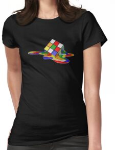 Rubiks Cube Melting Womens Fitted T-Shirt