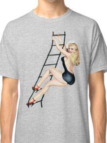 classic pin up girl ladder climbing Classic T-Shirt