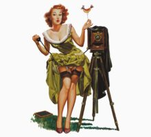 green dress pin up girl with classic camera and bird Kids Tee