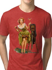 green dress pin up girl with classic camera and bird Tri-blend T-Shirt