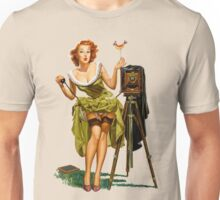 green dress pin up girl with classic camera and bird Unisex T-Shirt