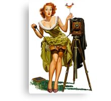 green dress pin up girl with classic camera and bird Canvas Print