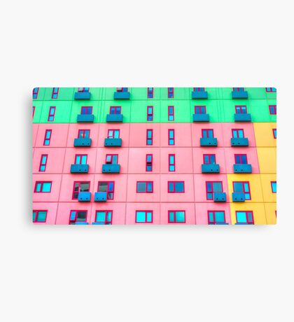 Colourfully Painted Exterior Apartment Building Wall - Melbourne, Victoria Canvas Print