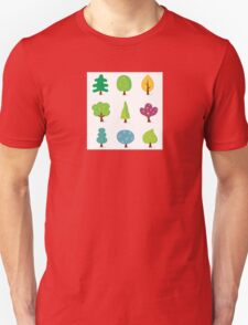 Retro tree designs. Retro vector illustration of nine trees. Unisex T-Shirt