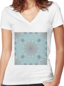 Turquoise mandala Women's Fitted V-Neck T-Shirt