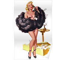 high class pin up girl with black fur coat Poster
