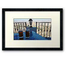 BREW WITH A VIEW.. Framed Print