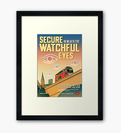London CCTV Poster - Secure Beneath The Watchful Eyes Framed Print