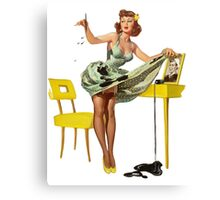 cute pin up girl with green dress yellow high heels Canvas Print