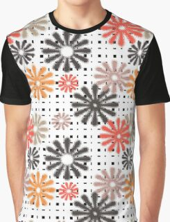 Abstraction. Colorful daisies on gingham background. Graphic T-Shirt