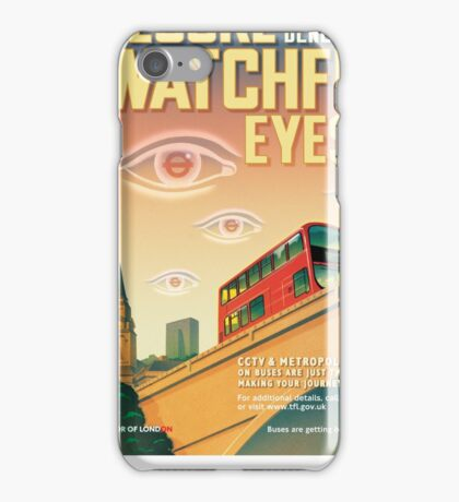 London CCTV Poster - Secure Beneath The Watchful Eyes iPhone Case/Skin