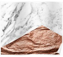 Rose gold foil marble geo Poster