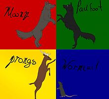 Moony, Wormtail, Padfoot, Prongs  by Kzduniak