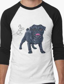 dog black pug breed Men's Baseball ¾ T-Shirt