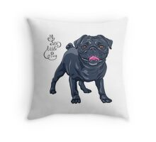 dog black pug breed Throw Pillow