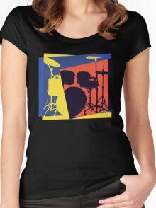 Drum Set Pop Art Women's Fitted Scoop T-Shirt