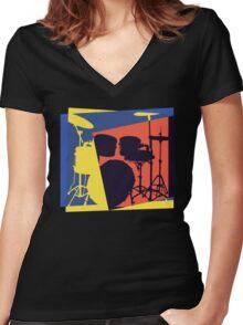 Drum Set Pop Art Women's Fitted V-Neck T-Shirt
