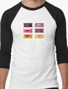 Love night tickets. Join crazy night party with collection of stylish retro tickets Men's Baseball ¾ T-Shirt
