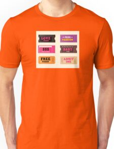 Love night tickets. Join crazy night party with collection of stylish retro tickets Unisex T-Shirt