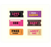 Love night tickets. Join crazy night party with collection of stylish retro tickets Art Print
