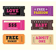 Love night tickets. Join crazy night party with collection of stylish retro tickets Photographic Print