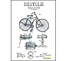 BICYCLE PATENT; Vintage Bike Patent Print Photographic Print