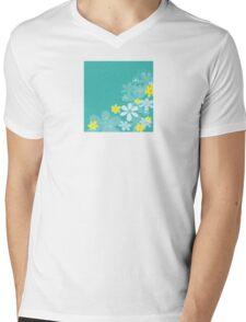 Blue retro flower texture. Retro flower design Mens V-Neck T-Shirt