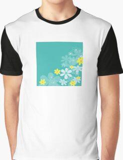 Blue retro flower texture. Retro flower design Graphic T-Shirt