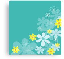 Blue retro flower texture. Retro flower design Canvas Print