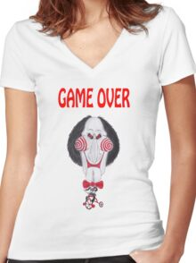 Horror Movie Game Over Caricature Women's Fitted V-Neck T-Shirt