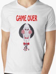 Horror Movie Game Over Caricature Mens V-Neck T-Shirt