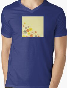 Retro flower background texture. Retro flower design Mens V-Neck T-Shirt