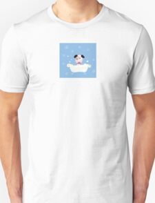 Cute dog bath. Bathing cute small doggie Unisex T-Shirt
