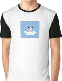 Cute dog bath. Bathing cute small doggie Graphic T-Shirt
