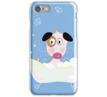 Cute dog bath. Bathing cute small doggie iPhone Case/Skin