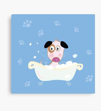 Cute dog bath. Bathing cute small doggie Canvas Print