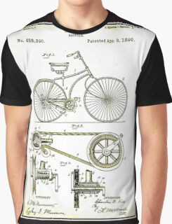 BICYCLE PATENT; Vintage Cycle Patent Print Graphic T-Shirt