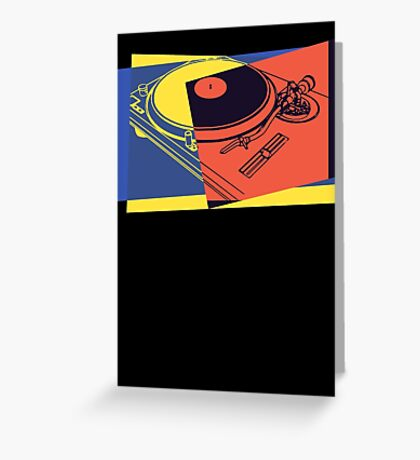 Vintage Turntable Pop Art Greeting Card