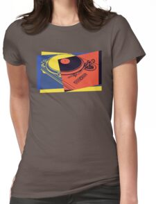 Vintage Turntable Pop Art Womens Fitted T-Shirt