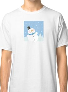 Christmas winter snowman background. Cute snowman in christmas snowy nature Classic T-Shirt
